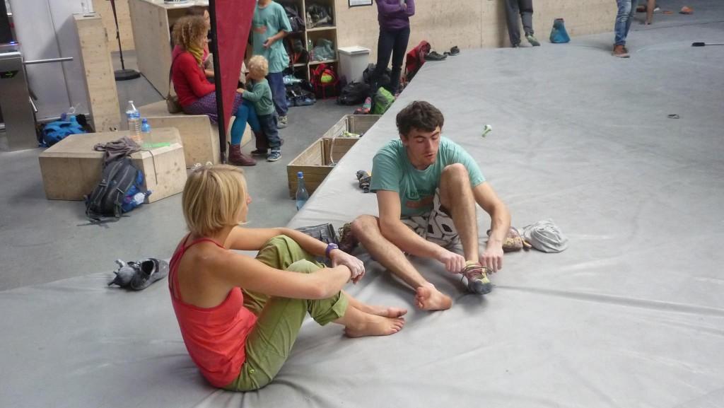 Laure et Matthieu en pleine effort lors de l'open de bloc de Gand