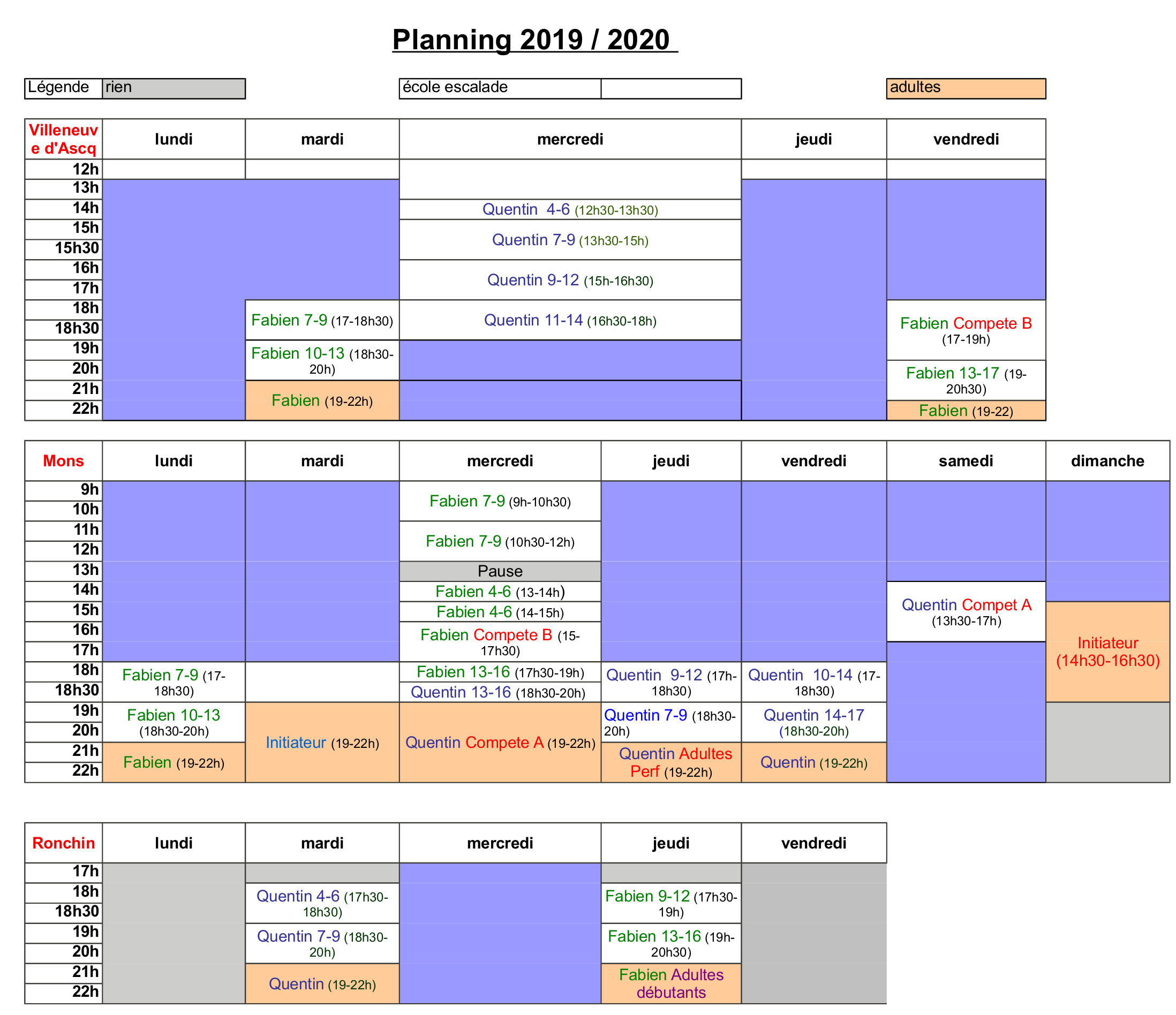 Ecole Escalade 2019-2020 planning